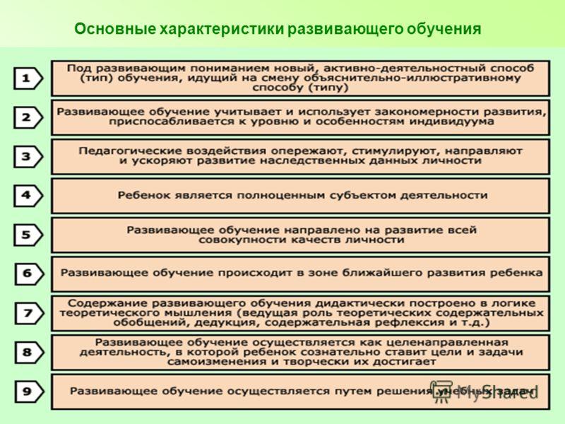 Основные характеристики развивающего обучения