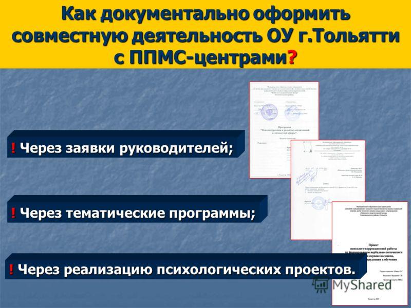 Как документально оформить совместную деятельность ОУ г.Тольятти с ППМС-центрами? ! Через тематические программы; ! Через заявки руководителей; ! Через реализацию психологических проектов.