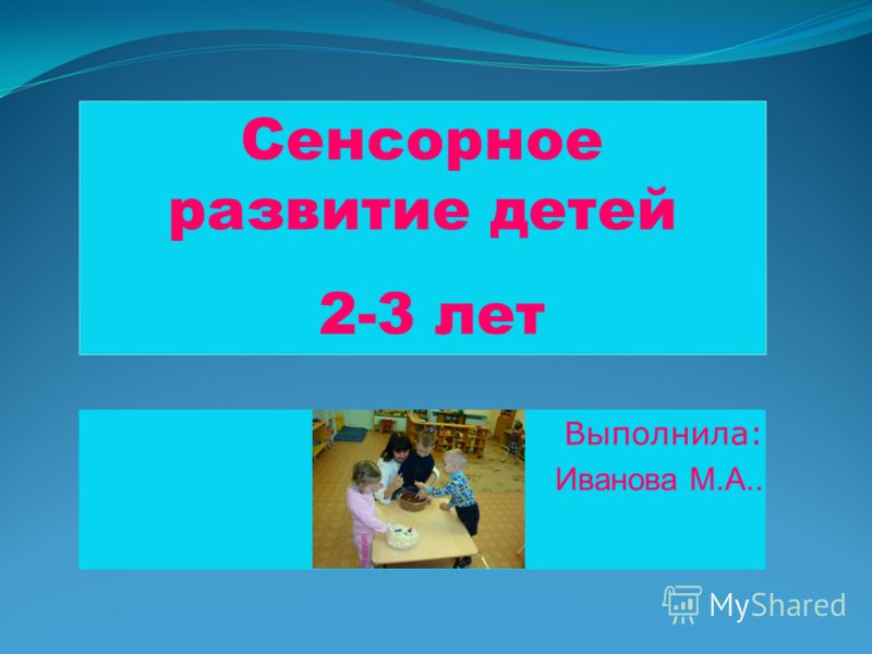 Выполнила: Иванова М.А.. Сенсорное развитие детей 2-3 лет