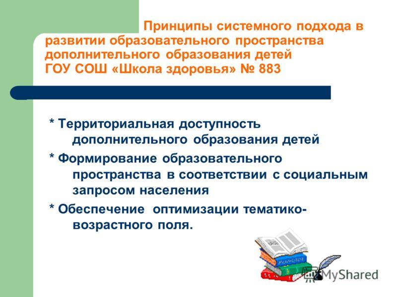 Принципы системного подхода в развитии образовательного пространства дополнительного образования детей ГОУ СОШ «Школа здоровья» 883 * Территориальная доступность дополнительного образования детей * Формирование образовательного пространства в соответ