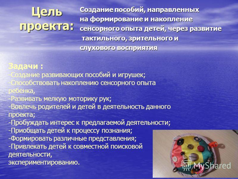 Цель проекта: Создание пособий, направленных на формирование и накопление сенсорного опыта детей, через развитие тактильного, зрительного и тактильного, зрительного и слухового восприятия Задачи : -Создание развивающих пособий и игрушек; -Способствов