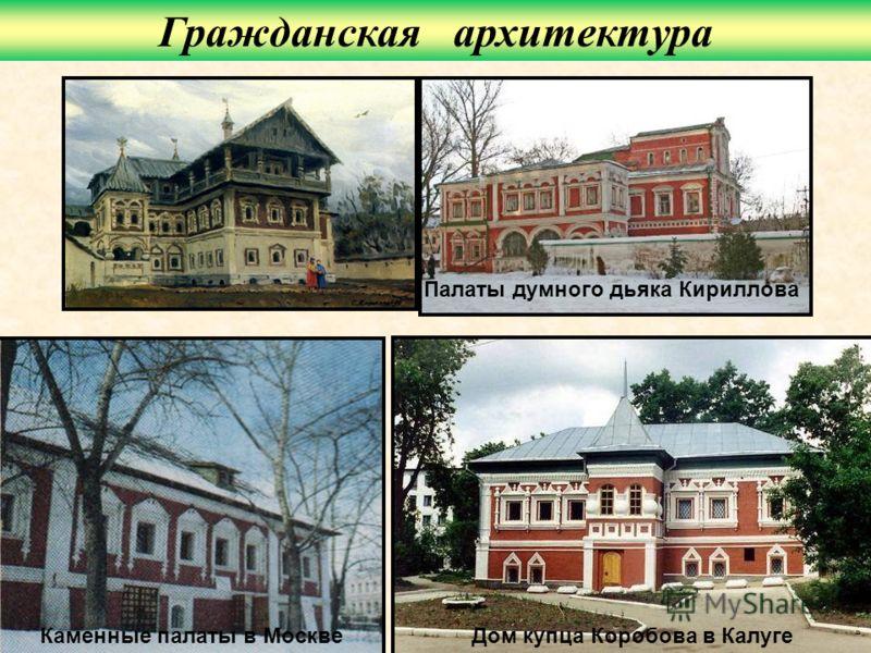 Дом купца Коробова в КалугеКаменные палаты в Москве Палаты думного дьяка Кириллова