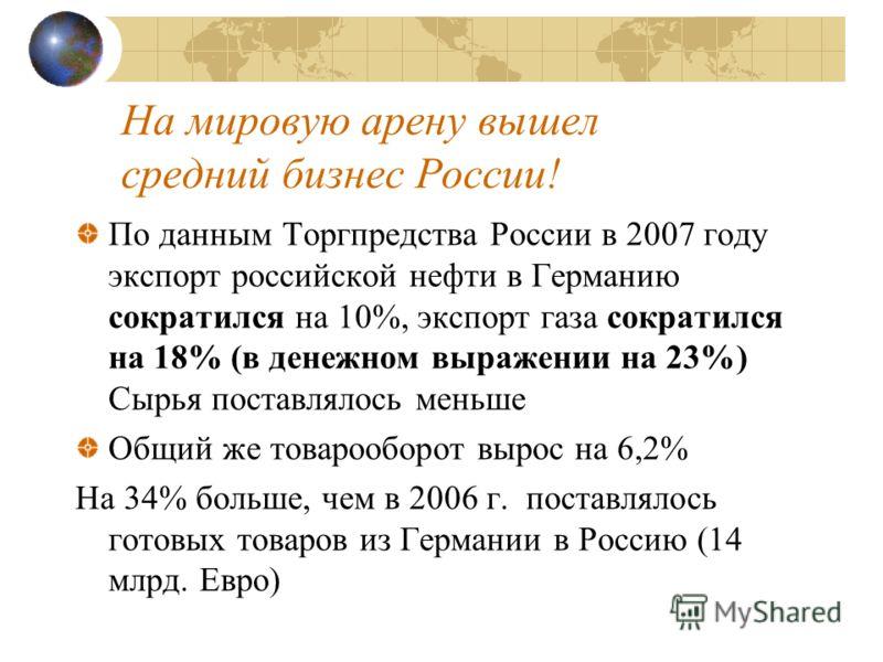 На мировую арену вышел средний бизнес России! По данным Торгпредства России в 2007 году экспорт российской нефти в Германию сократился на 10%, экспорт газа сократился на 18% (в денежном выражении на 23%) Сырья поставлялось меньше Общий же товарооборо