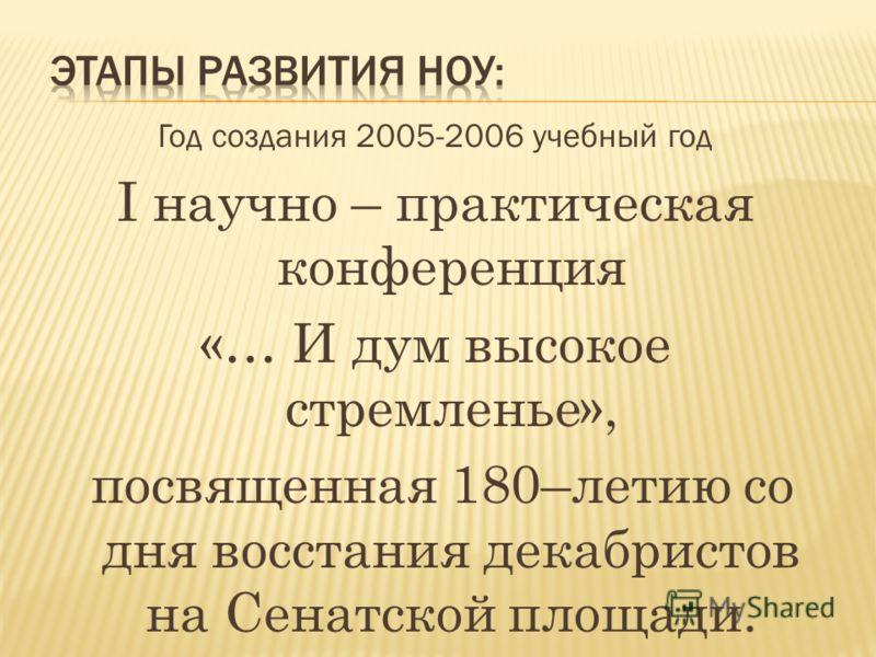 Год создания 2005-2006 учебный год I научно – практическая конференция «… И дум высокое стремленье», посвященная 180–летию со дня восстания декабристов на Сенатской площади.