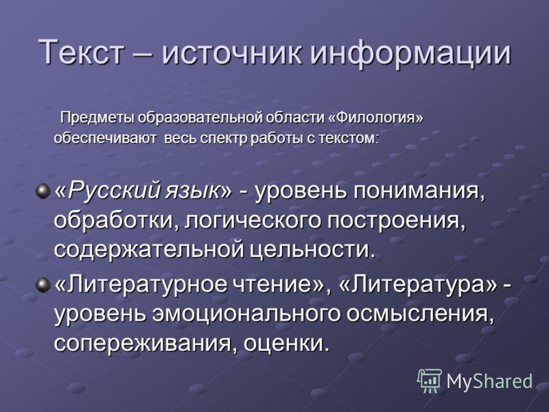 Текст – источник информации Предметы образовательной области «Филология» обеспечивают весь спектр работы с текстом: Предметы образовательной области «Филология» обеспечивают весь спектр работы с текстом: «Русский язык» - уровень понимания, обработки,
