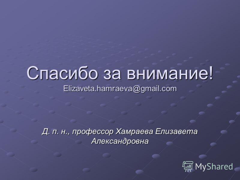 Спасибо за внимание! Elizaveta.hamraeva@gmail.com Д. п. н., профессор Хамраева Елизавета Александровна