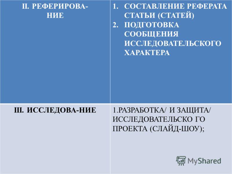 II. РЕФЕРИРОВА- НИЕ 1.СОСТАВЛЕНИЕ РЕФЕРАТА СТАТЬИ (СТАТЕЙ) 2.ПОДГОТОВКА СООБЩЕНИЯ ИССЛЕДОВАТЕЛЬСКОГО ХАРАКТЕРА III. ИССЛЕДОВА-НИЕ1.РАЗРАБОТКА/ И ЗАЩИТА/ ИССЛЕДОВАТЕЛЬСКО ГО ПРОЕКТА (СЛАЙД-ШОУ);
