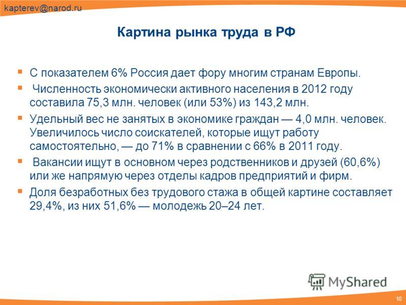 10 kapterev@narod.ru С показателем 6% Россия дает фору многим странам Европы. Численность экономически активного населения в 2012 году составила 75,3 млн. человек (или 53%) из 143,2 млн. Удельный вес не занятых в экономике граждан 4,0 млн. человек. У