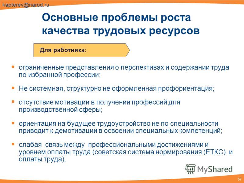 57 kapterev@narod.ru ограниченные представления о перспективах и содержании труда по избранной профессии; Не системная, структурно не оформленная профориентация; отсутствие мотивации в получении профессий для производственной сферы; ориентация на буд