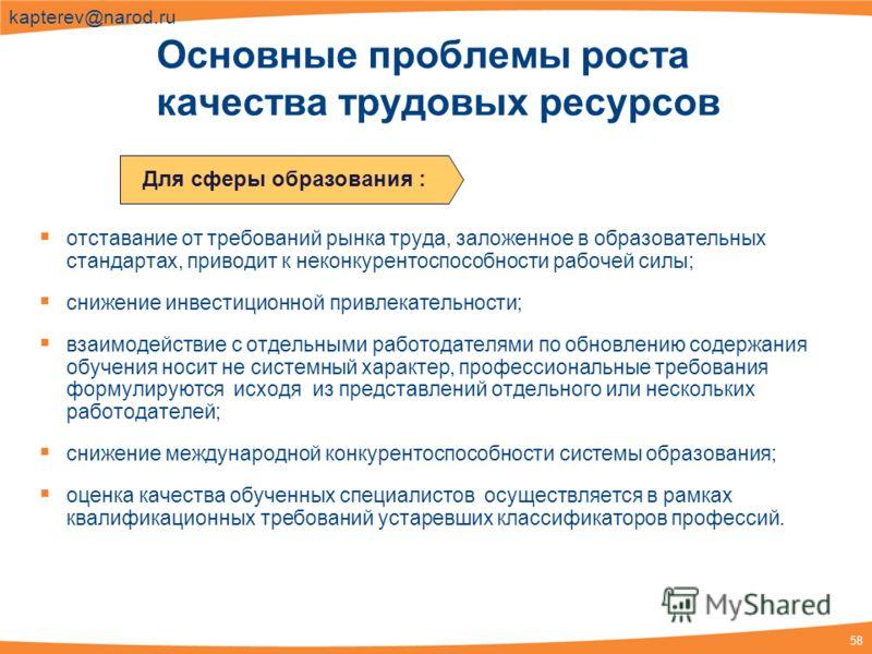 58 kapterev@narod.ru отставание от требований рынка труда, заложенное в образовательных стандартах, приводит к неконкурентоспособности рабочей силы; снижение инвестиционной привлекательности; взаимодействие с отдельными работодателями по обновлению с
