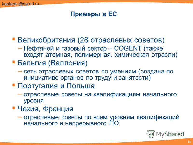 80 kapterev@narod.ru Примеры в ЕС Великобритания (28 отраслевых советов) – Нефтяной и газовый сектор – COGENT (также входят атомная, полимерная, химическая отрасли) Бельгия (Валлония) – сеть отраслевых советов по умениям (создана по инициативе органо