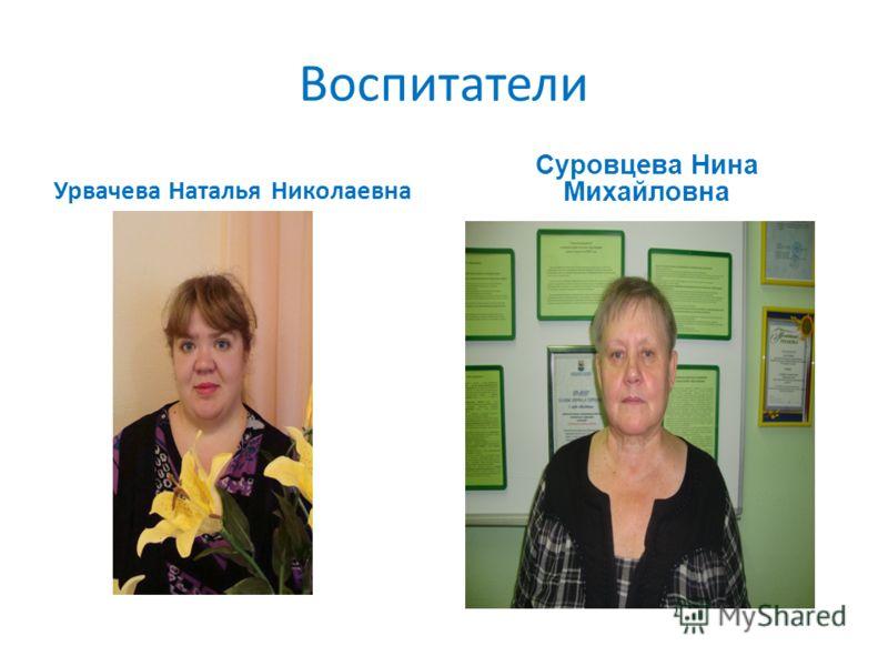 Воспитатели Урвачева Наталья Николаевна Суровцева Нина Михайловна