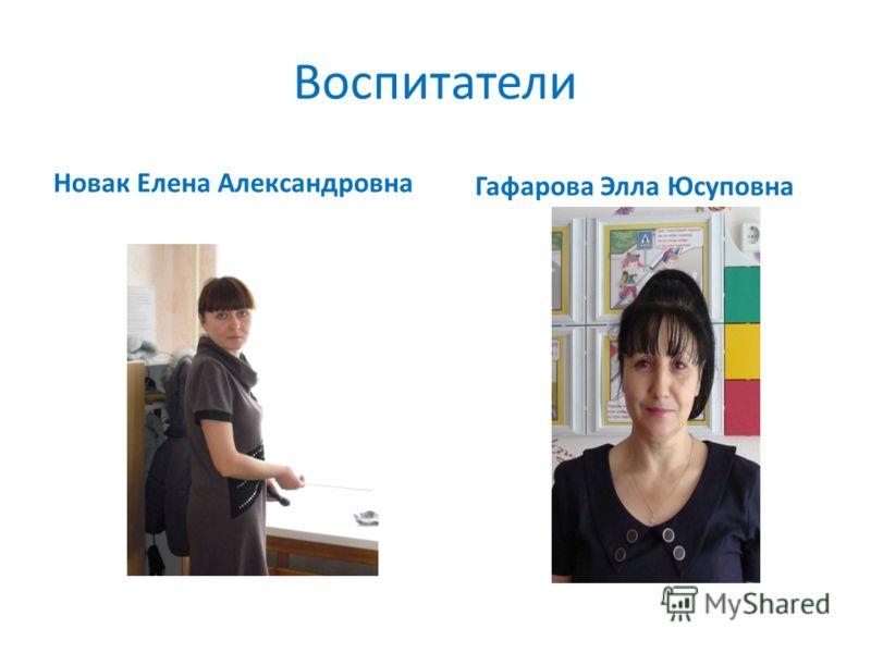 Воспитатели Новак Елена Александровна Гафарова Элла Юсуповна
