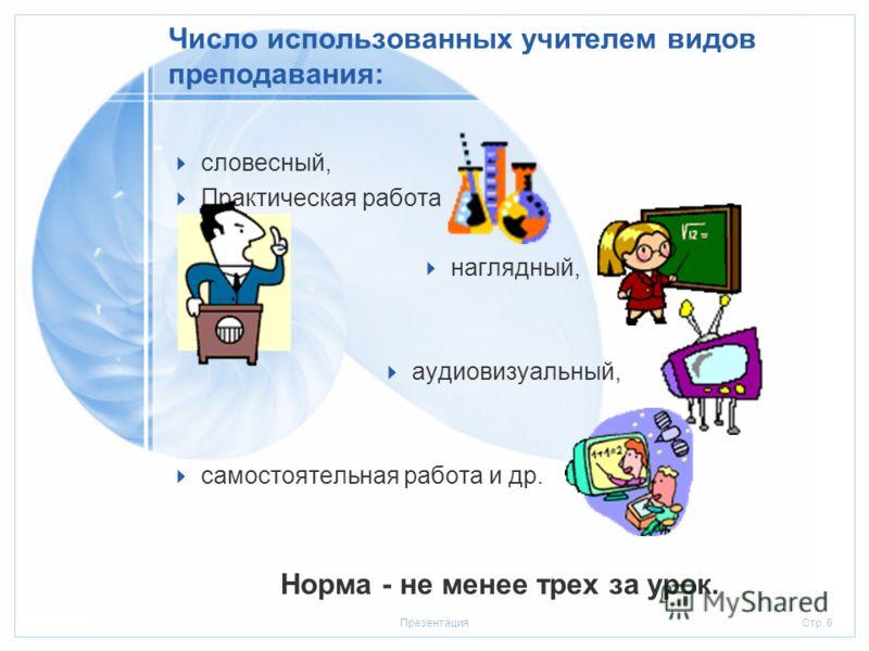 Стр. 520.01.2006Презентация Средняя продолжительность и частота чередования различных видов учебной деятельности Ориентировочная норма: 7-10 минут.