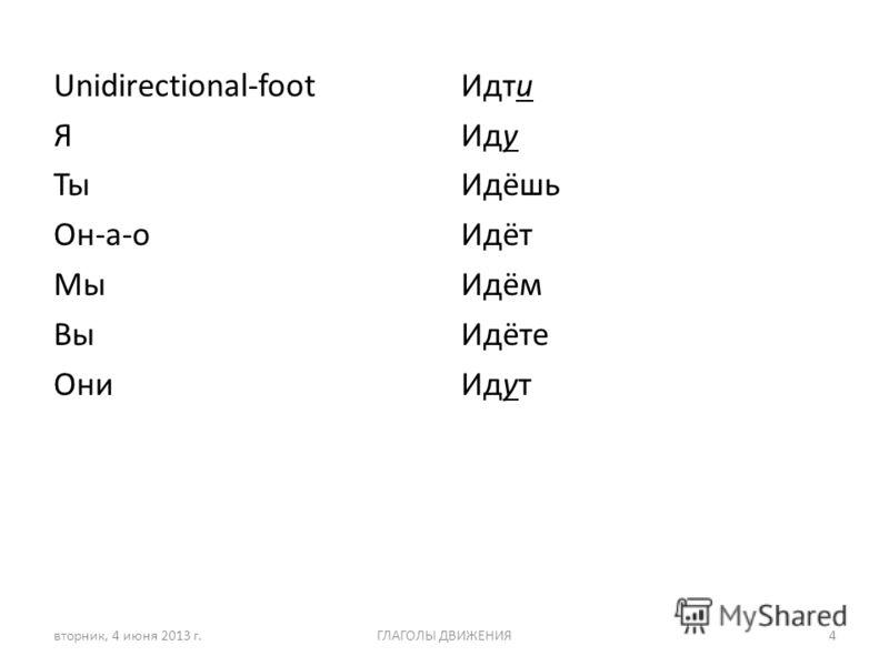 Unidirectional-foot Я Ты Он-а-о Мы Вы Они Идти Иду Идёшь Идёт Идём Идёте Идут вторник, 4 июня 2013 г.ГЛАГОЛЫ ДВИЖЕНИЯ4