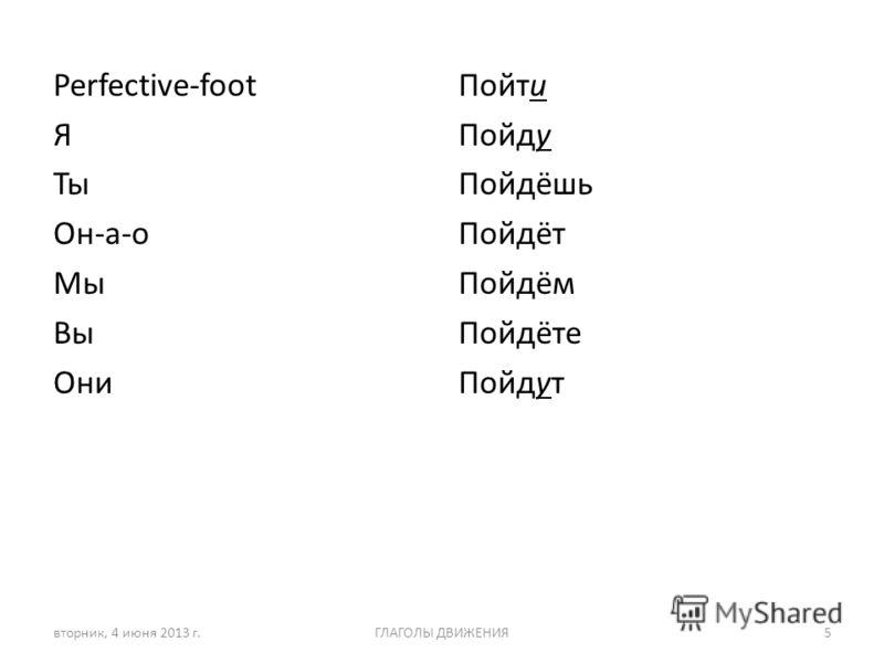 Perfective-foot Я Ты Он-а-о Мы Вы Они Пойти Пойду Пойдёшь Пойдёт Пойдём Пойдёте Пойдут вторник, 4 июня 2013 г.ГЛАГОЛЫ ДВИЖЕНИЯ5