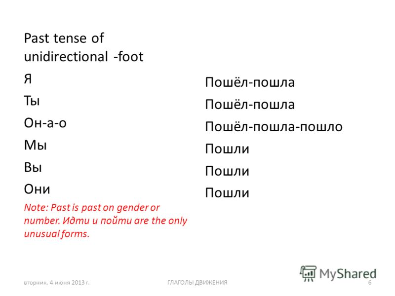 Past tense of unidirectional -foot Я Ты Он-а-о Мы Вы Они Note: Past is past on gender or number. Идти и пойти are the only unusual forms. Пошёл-пошла Пошёл-пошла-пошло Пошли вторник, 4 июня 2013 г.ГЛАГОЛЫ ДВИЖЕНИЯ6