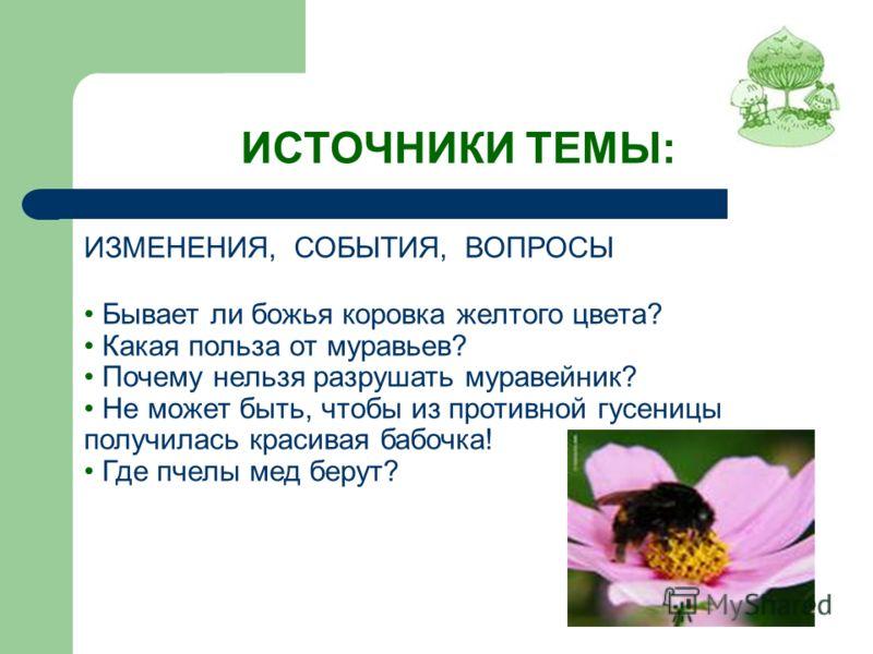 ИСТОЧНИКИ ТЕМЫ: ИЗМЕНЕНИЯ, СОБЫТИЯ, ВОПРОСЫ Бывает ли божья коровка желтого цвета? Какая польза от муравьев? Почему нельзя разрушать муравейник? Не может быть, чтобы из противной гусеницы получилась красивая бабочка! Где пчелы мед берут?