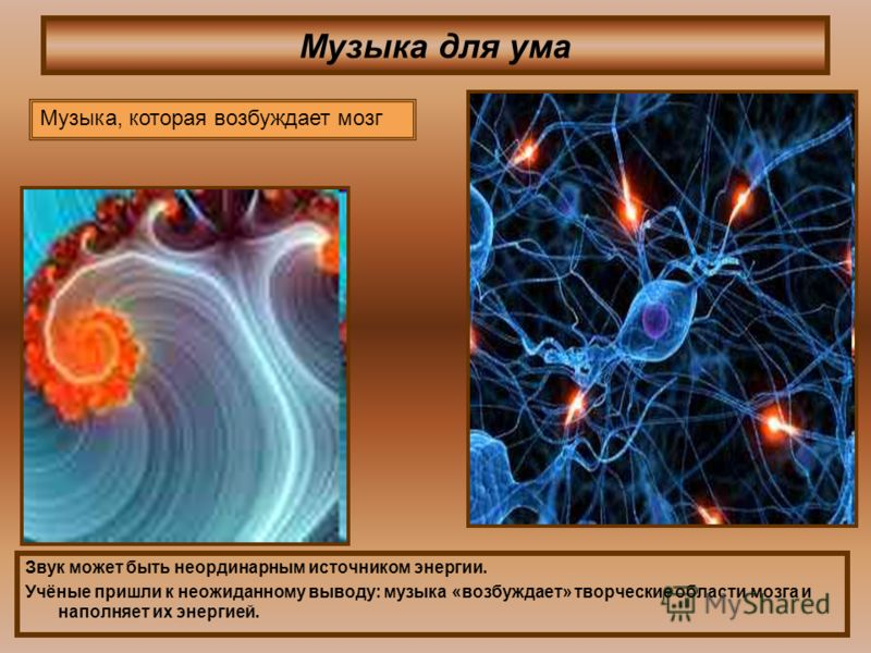 Музыка для ума Звук может быть неординарным источником энергии. Учёные пришли к неожиданному выводу: музыка «возбуждает» творческие области мозга и наполняет их энергией. Музыка, которая возбуждает мозг