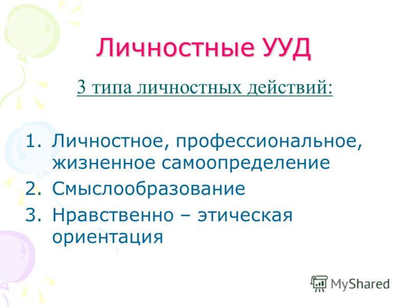 Личностные УУД 3 типа личностных действий: 1.Личностное, профессиональное, жизненное самоопределение 2.Смыслообразование 3.Нравственно – этическая ориентация