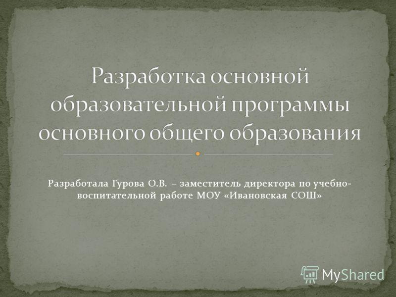 Разработала Гурова О.В. – заместитель директора по учебно- воспитательной работе МОУ «Ивановская СОШ»