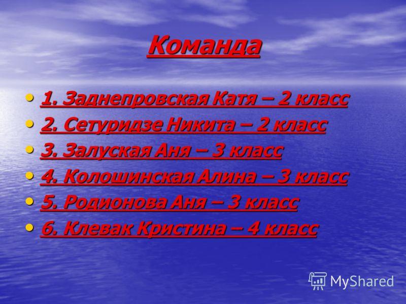 Команда 1. Заднепровская Катя – 2 класс 1. Заднепровская Катя – 2 класс 2. Сетуридзе Никита – 2 класс 2. Сетуридзе Никита – 2 класс 3. Залуская Аня – 3 класс 3. Залуская Аня – 3 класс 4. Колошинская Алина – 3 класс 4. Колошинская Алина – 3 класс 5. Р