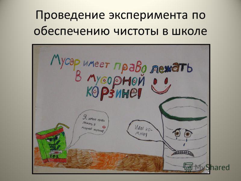 Проведение эксперимента по обеспечению чистоты в школе