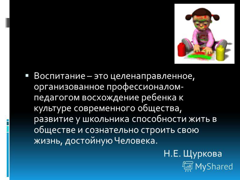 Воспитание – это целенаправленное, организованное профессионалом- педагогом восхождение ребенка к культуре современного общества, развитие у школьника способности жить в обществе и сознательно строить свою жизнь, достойную Человека. Н.Е. Щуркова