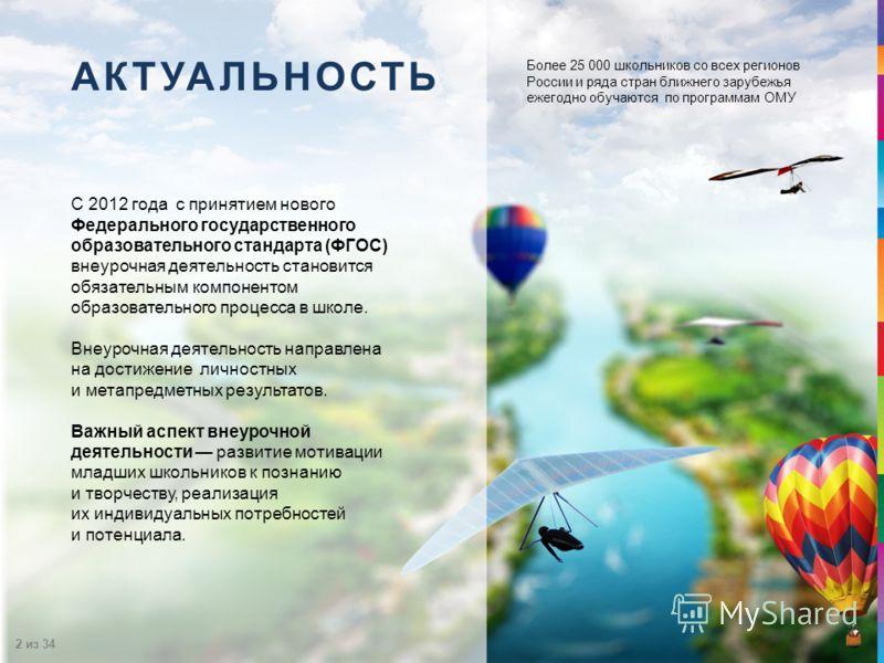2 из 34 Более 25 000 школьников со всех регионов России и ряда стран ближнего зарубежья ежегодно обучаются по программам ОМУ АКТУАЛЬНОСТЬ С 2012 года с принятием нового Федерального государственного образовательного стандарта (ФГОС) внеурочная деятел