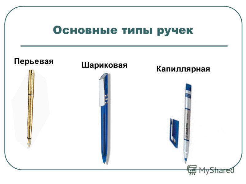 Основные типы ручек Перьевая Шариковая Капиллярная