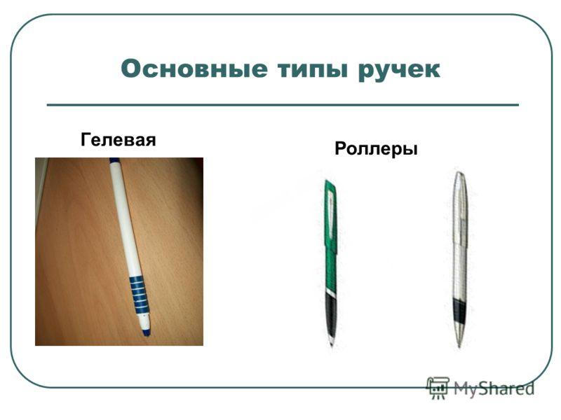Основные типы ручек Гелевая Роллеры