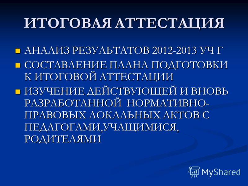 ИТОГОВАЯ АТТЕСТАЦИЯ АНАЛИЗ РЕЗУЛЬТАТОВ 2012-2013 УЧ Г АНАЛИЗ РЕЗУЛЬТАТОВ 2012-2013 УЧ Г СОСТАВЛЕНИЕ ПЛАНА ПОДГОТОВКИ К ИТОГОВОЙ АТТЕСТАЦИИ СОСТАВЛЕНИЕ ПЛАНА ПОДГОТОВКИ К ИТОГОВОЙ АТТЕСТАЦИИ ИЗУЧЕНИЕ ДЕЙСТВУЮЩЕЙ И ВНОВЬ РАЗРАБОТАННОЙ НОРМАТИВНО- ПРАВО