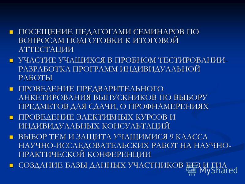 ПОСЕЩЕНИЕ ПЕДАГОГАМИ СЕМИНАРОВ ПО ВОПРОСАМ ПОДГОТОВКИ К ИТОГОВОЙ АТТЕСТАЦИИ ПОСЕЩЕНИЕ ПЕДАГОГАМИ СЕМИНАРОВ ПО ВОПРОСАМ ПОДГОТОВКИ К ИТОГОВОЙ АТТЕСТАЦИИ УЧАСТИЕ УЧАЩИХСЯ В ПРОБНОМ ТЕСТИРОВАНИИ- РАЗРАБОТКА ПРОГРАММ ИНДИВИДУАЛЬНОЙ РАБОТЫ УЧАСТИЕ УЧАЩИХС