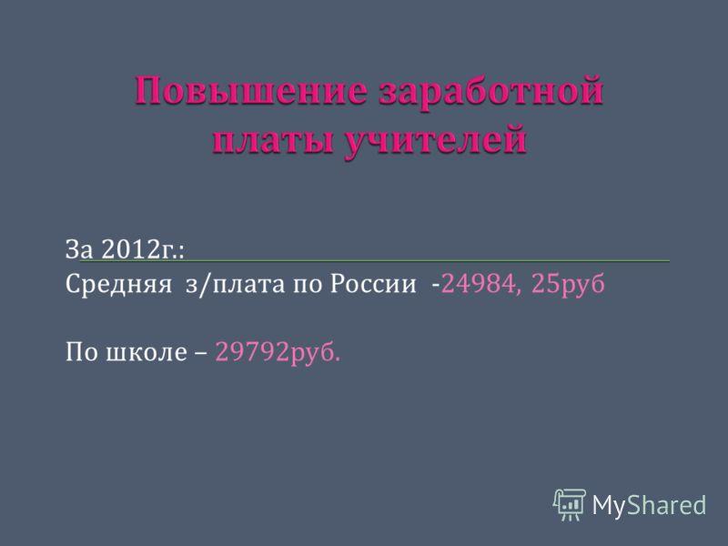 За 2012 г.: Средняя з / плата по России -24984, 25 руб По школе – 29792 руб.