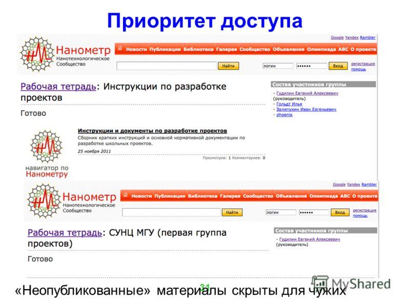 31 Приоритет доступа «Неопубликованные» материалы скрыты для чужих
