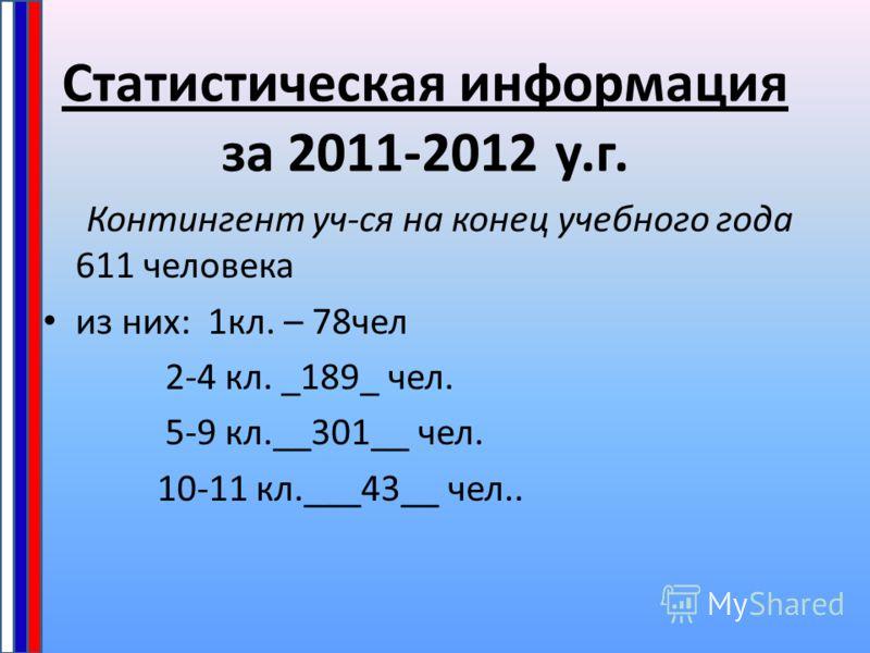 Статистическая информация за 2011-2012 у.г. Контингент уч-ся на конец учебного года 611 человека из них: 1кл. – 78чел 2-4 кл. _189_ чел. 5-9 кл.__301__ чел. 10-11 кл.___43__ чел..