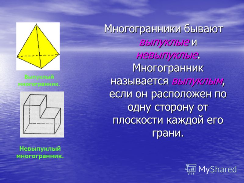 Многогранники бывают выпуклые и невыпуклые. Многогранник называется выпуклым, если он расположен по одну сторону от плоскости каждой его грани. Невыпуклый многогранник. Выпуклый многогранник.