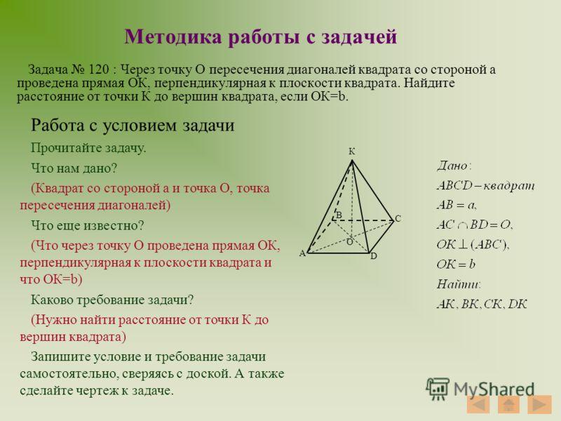 Методика работы с задачей Задача 120 : Через точку О пересечения диагоналей квадрата со стороной а проведена прямая ОК, перпендикулярная к плоскости квадрата. Найдите расстояние от точки К до вершин квадрата, если ОК=b. А В С D О К Работа с условием