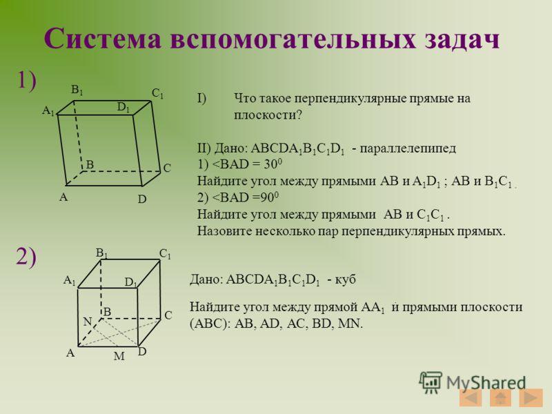 Система вспомогательных задач 1) 2) А D B C А1А1 C1C1 B1B1 D1D1 I)Что такое перпендикулярные прямые на плоскости? II) Дано: ABCDA 1 B 1 C 1 D 1 - параллелепипед 1)