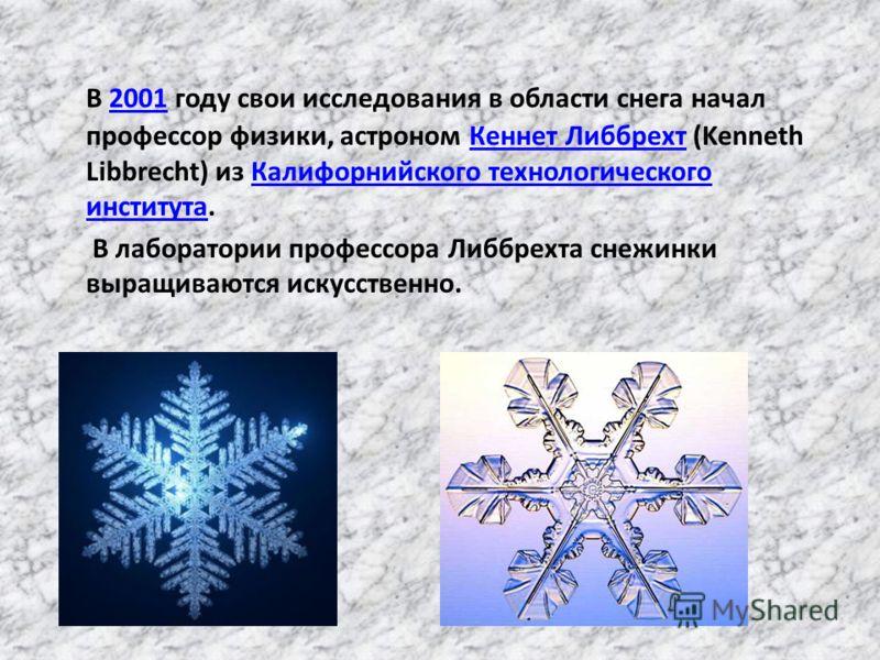 В 2001 году свои исследования в области снега начал профессор физики, астроном Кеннет Либбрехт (Kenneth Libbrecht) из Калифорнийского технологического института.2001Кеннет ЛиббрехтКалифорнийского технологического института В лаборатории профессора Ли