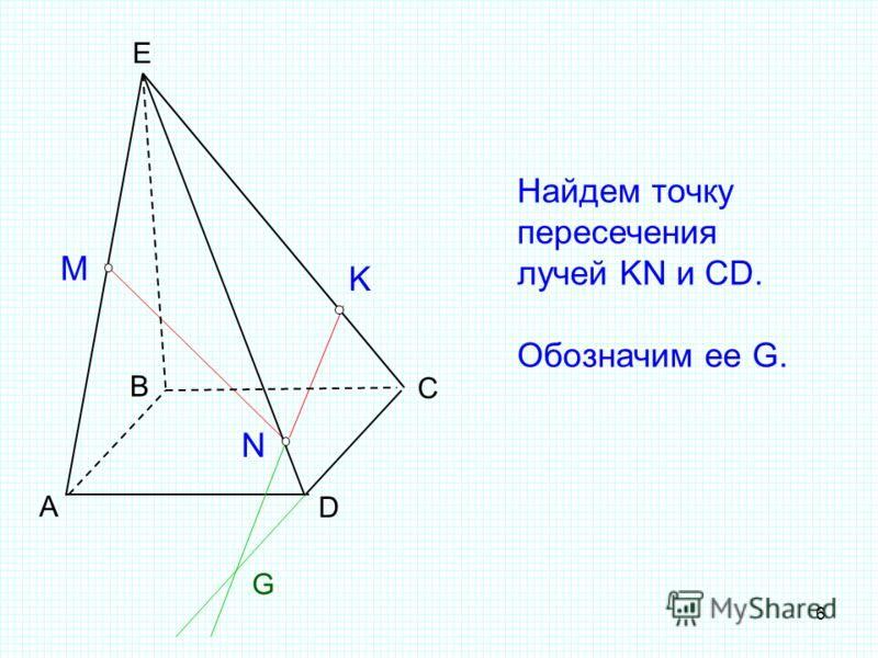 6 А B C D E M N K Найдем точку пересечения лучей KN и CD. Обозначим ее G. G