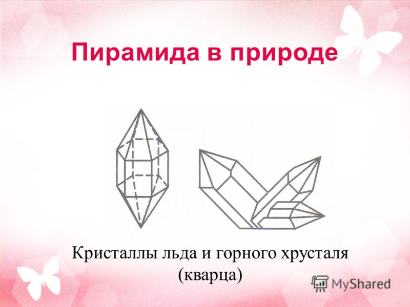 Пирамида в природе Кристаллы льда и горного хрусталя (кварца)