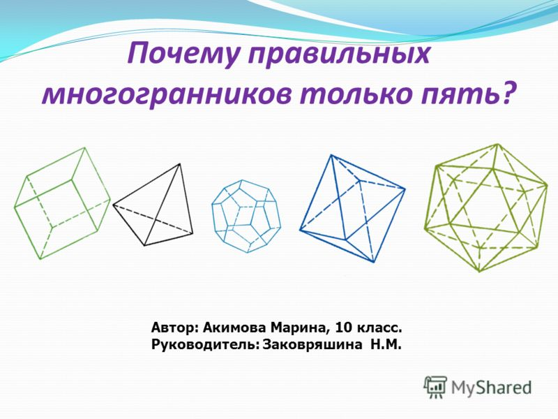 Автор: Акимова Марина, 10 класс. Руководитель: Заковряшина Н.М. Почему правильных многогранников только пять?