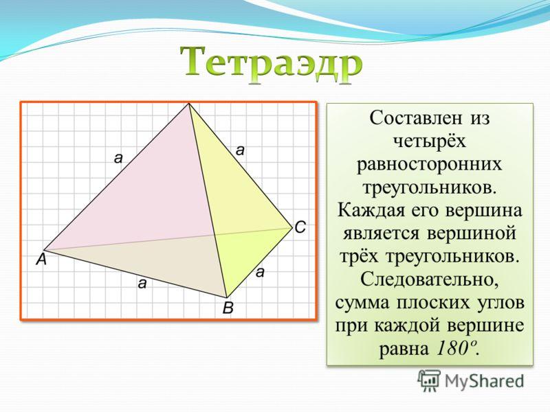 Составлен из четырёх равносторонних треугольников. Каждая его вершина является вершиной трёх треугольников. Следовательно, сумма плоских углов при каждой вершине равна 180º.