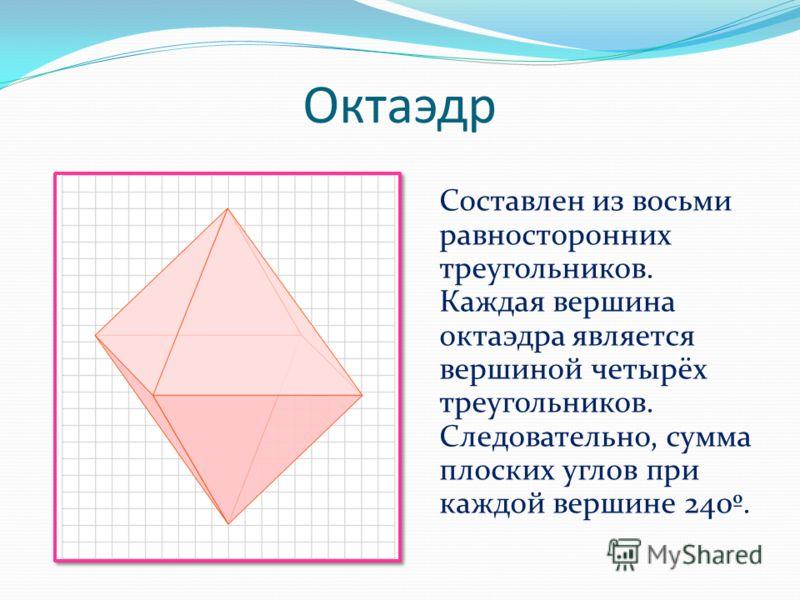 Октаэдр Составлен из восьми равносторонних треугольников. Каждая вершина октаэдра является вершиной четырёх треугольников. Следовательно, сумма плоских углов при каждой вершине 240º.