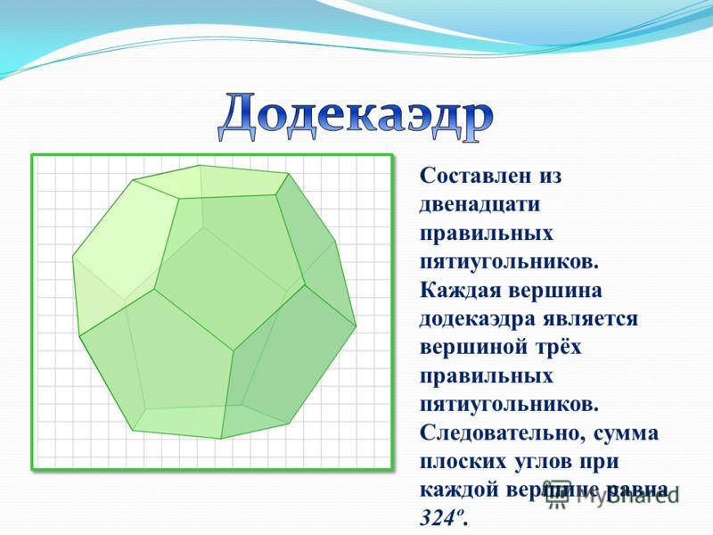 Составлен из двенадцати правильных пятиугольников. Каждая вершина додекаэдра является вершиной трёх правильных пятиугольников. Следовательно, сумма плоских углов при каждой вершине равна 324º.