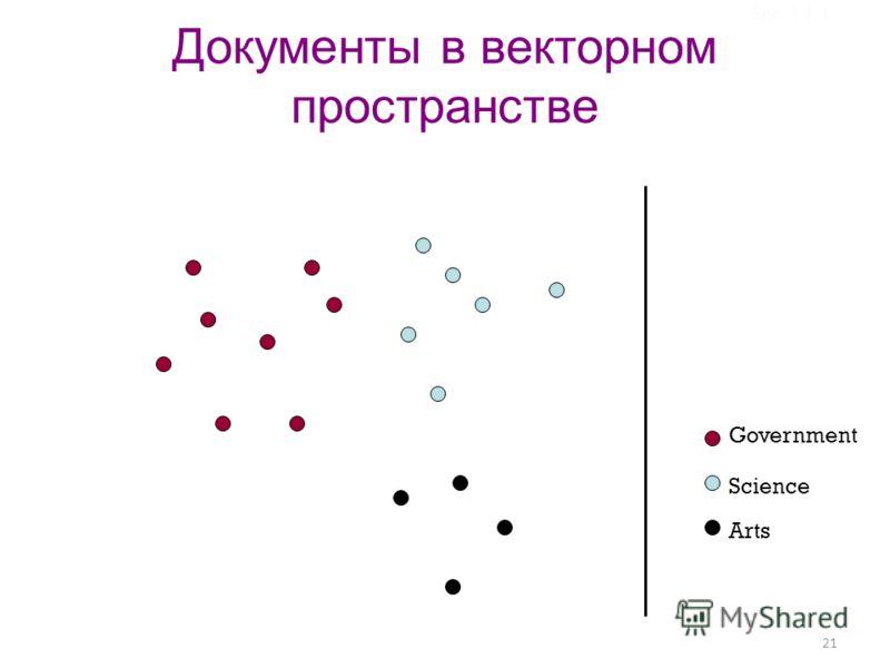 21 Документы в векторном пространстве Government Science Arts Sec.14.1