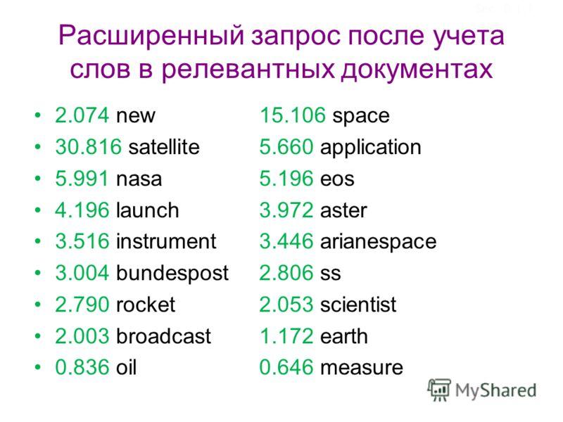 Расширенный запрос после учета слов в релевантных документах 2.074 new 15.106 space 30.816 satellite 5.660 application 5.991 nasa 5.196 eos 4.196 launch 3.972 aster 3.516 instrument 3.446 arianespace 3.004 bundespost 2.806 ss 2.790 rocket 2.053 scien
