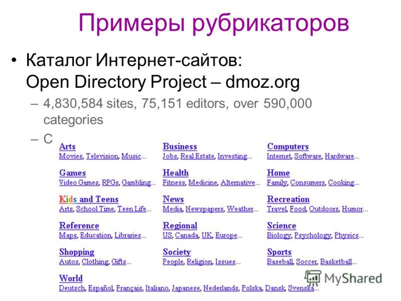 Примеры рубрикаторов Каталог Интернет-сайтов: Open Directory Project – dmoz.org –4,830,584 sites, 75,151 editors, over 590,000 categories –Сетевая структура, ссылки между рубриками