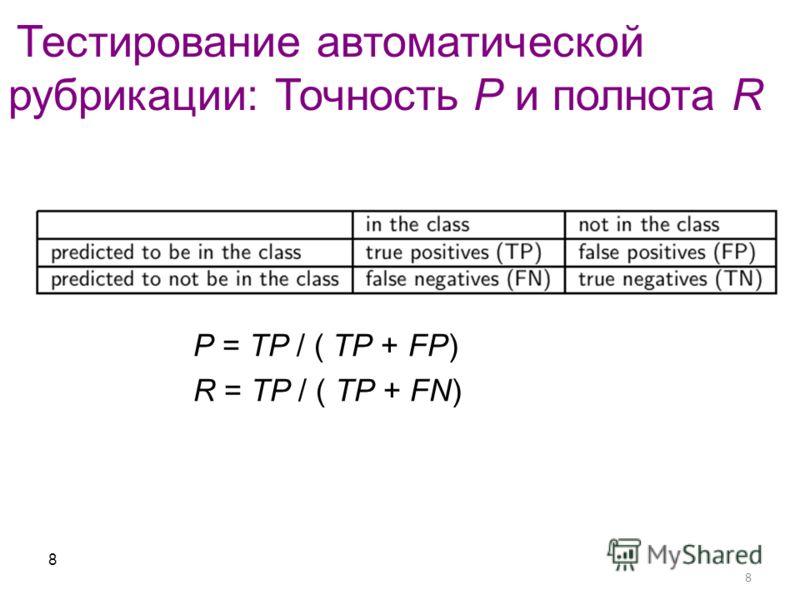 8 Тестирование автоматической рубрикации: Точность P и полнота R 8 P = TP / ( TP + FP) R = TP / ( TP + FN)